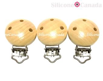Natural Wood Pacifier Clip, Binky Clip, Suspender Clip - DIY Supplies