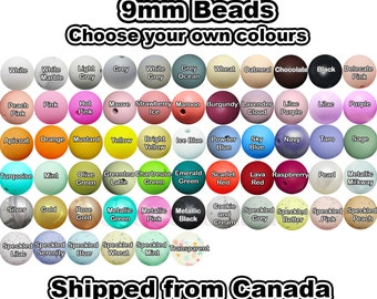 9mm Bulk Lot of 100 Silicone Beads. Loose, highest quality, BPA free silicone craft supplies Canada USA Europe. Wholesale Bulk Discount.