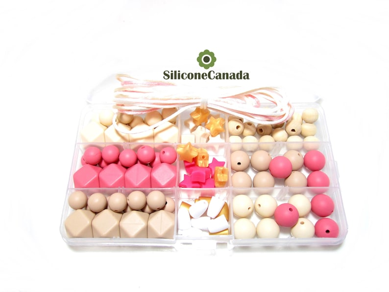 Free Storage Case Included Classic DIY Silicone Teething Necklace Kit Perfect Baby Shower Gift Food Grade Teething Beads
