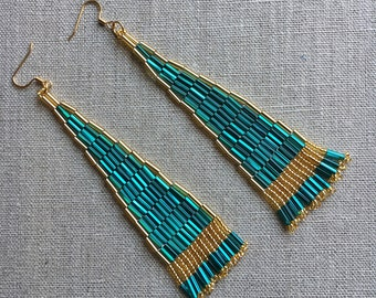Lady of the Nile Earrings -- Gold and Turquoise Beaded Earrings