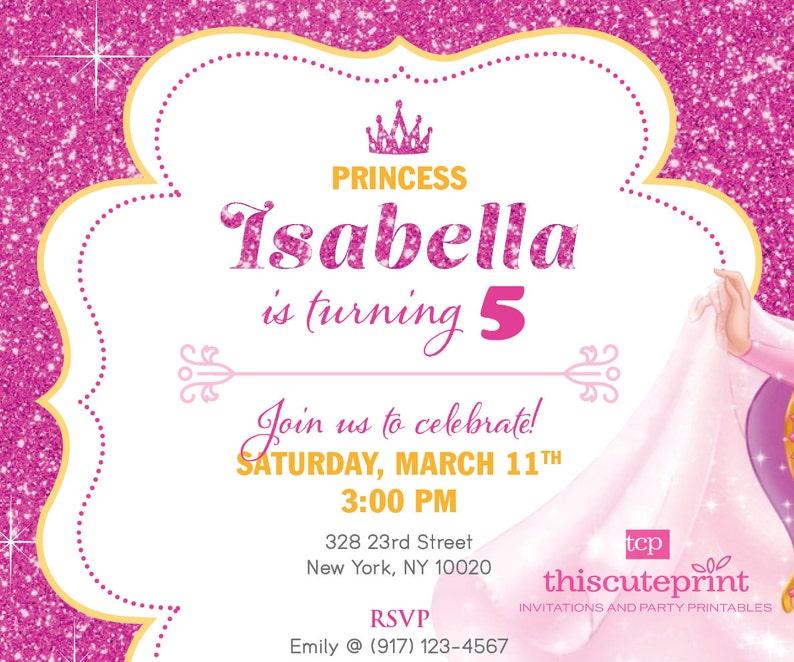 FREE Thank You card. Sleeping Beauty Princess Aurora birthday invitation printable Princess Theme invite Disney invite Size 5x7