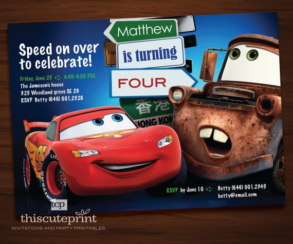 Personalized Pixar Cars Lightning McQueen And Monstertruck