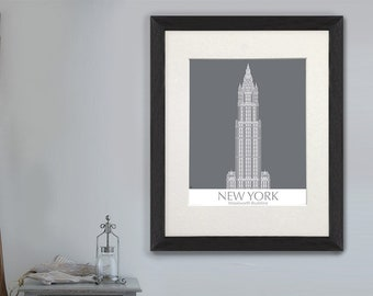 Gift For Boss   New York Woolworth Building Monochrome   Office Gift For  Men Cool Office Gifts City Art New York Canvas Contemporary Art
