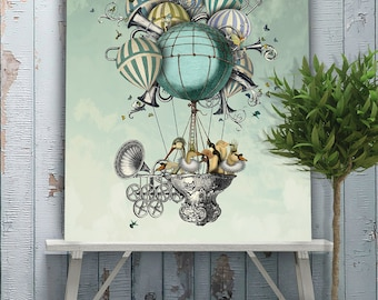 Limited Edition - Hot air balloon poster Aves Piger,  Hot air balloon print,  bird illustration, large canvas, pale blue decor, unsual humor