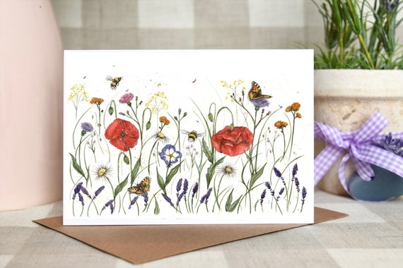 Poppies Wildflowers greeting card