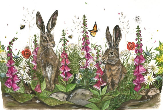 Hares and wild flowers 'Summers Meadow' Limited edition print