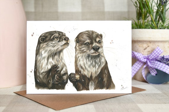 Otters 'Olive and Otto' greeting card