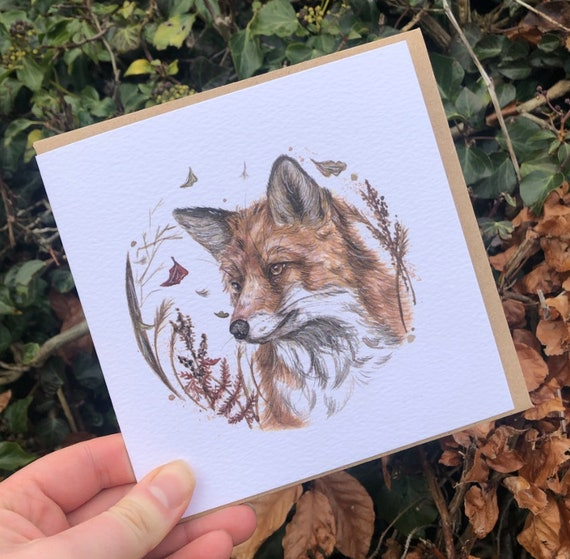 Fox square greeting card