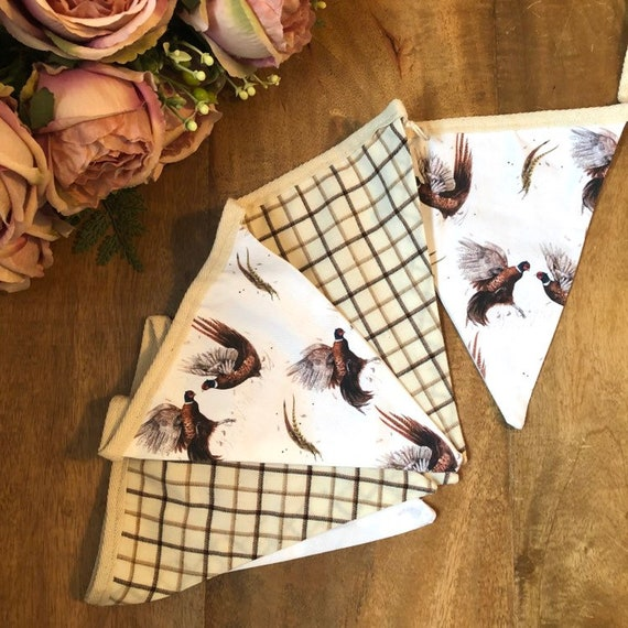 Pheasants and country check bunting
