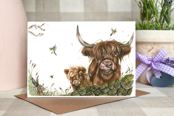 Highland cows and hare 'Spring breeze' greeting card