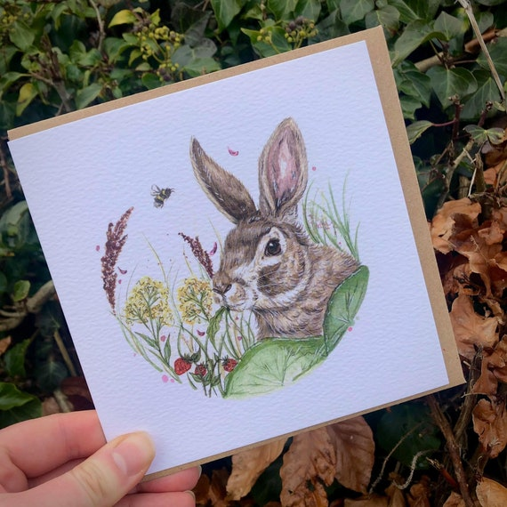 Wild Rabbit square greeting card