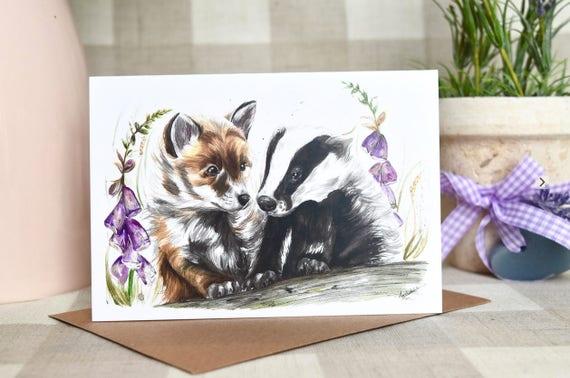 Fox and badger greeting card
