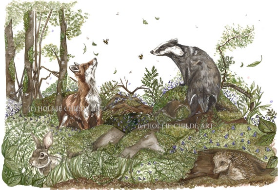 Badger, fox and friends in bluebells Limited edition print