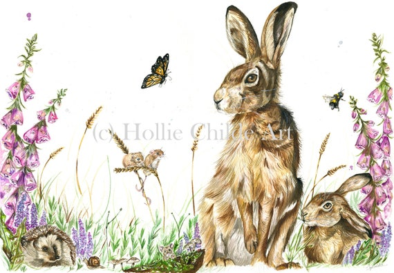 Hare scene 'one summer evening' Limited edition print