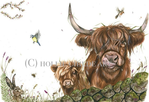 Spring breeze' highlands and hare limited edition print