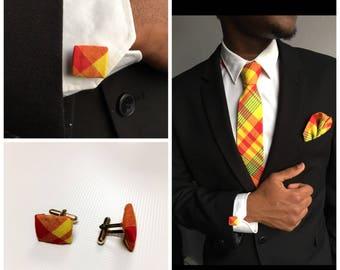 Button cuffs traditional madras color