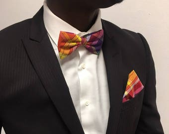 Bow tie red madras