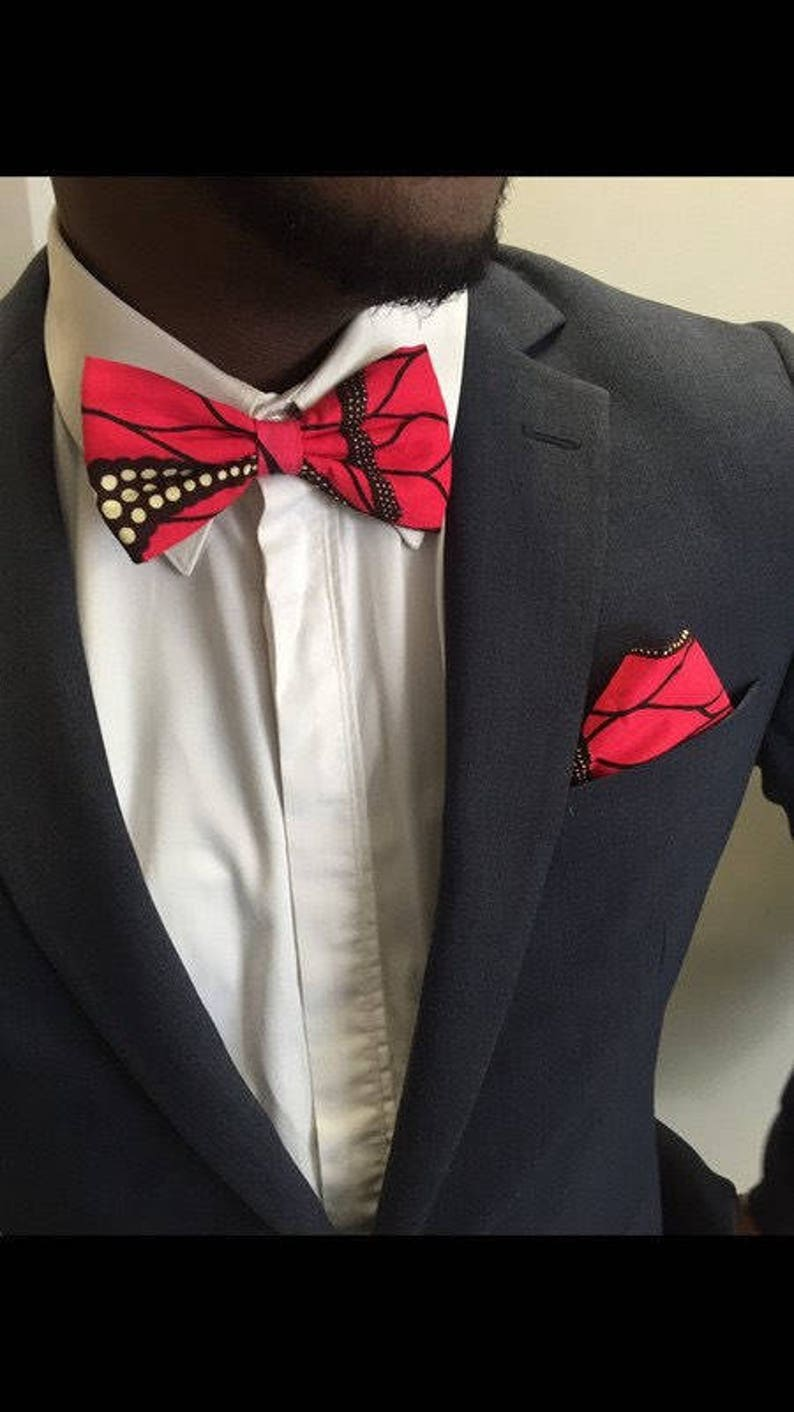 Butterfly knot red wax fabric men/'s suit accessory