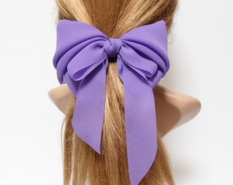 ad534da8cece chiffon solid color hair bow long tail woman french hair barrette