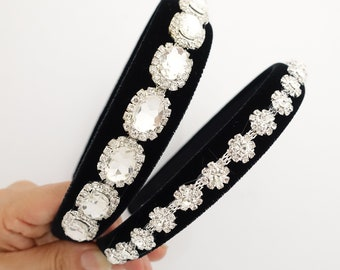 65a523cd9cb Rhinestone embellished velvet hairband luxury dazzling woman headband