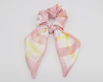 satin print bow knot scrunchies floral check hair elastic scrunchy for women