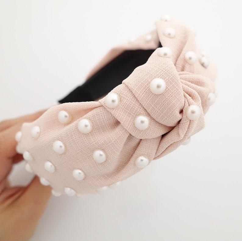 thin fabric front knot pearl decorated fashion headband Light peach