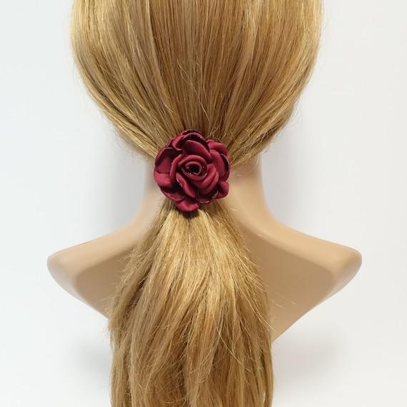 Handmade flower ponytail holder Simple Wild Rose Flower  817af344c6f