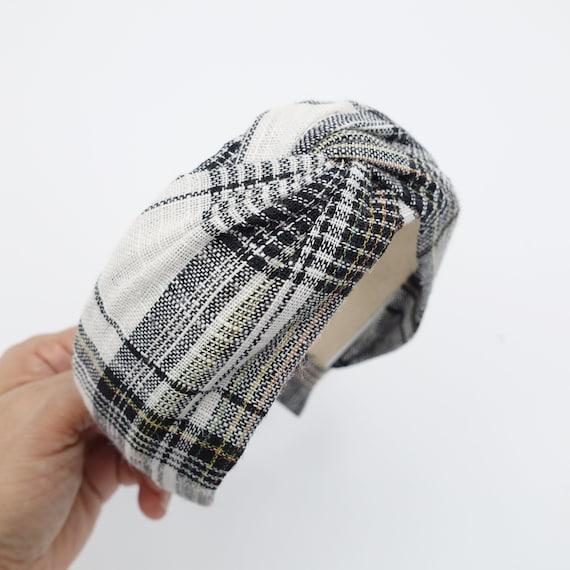 Plaid Check Cross Headband Cotton Twist Hairband Women Hair Accessory by Etsy