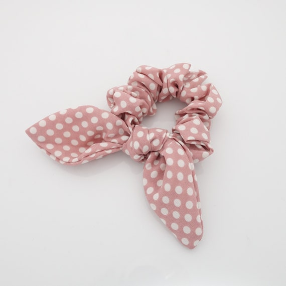 Green Polka Dots on Medium Pink Design Fabric Hair Scrunchie//6th One Free