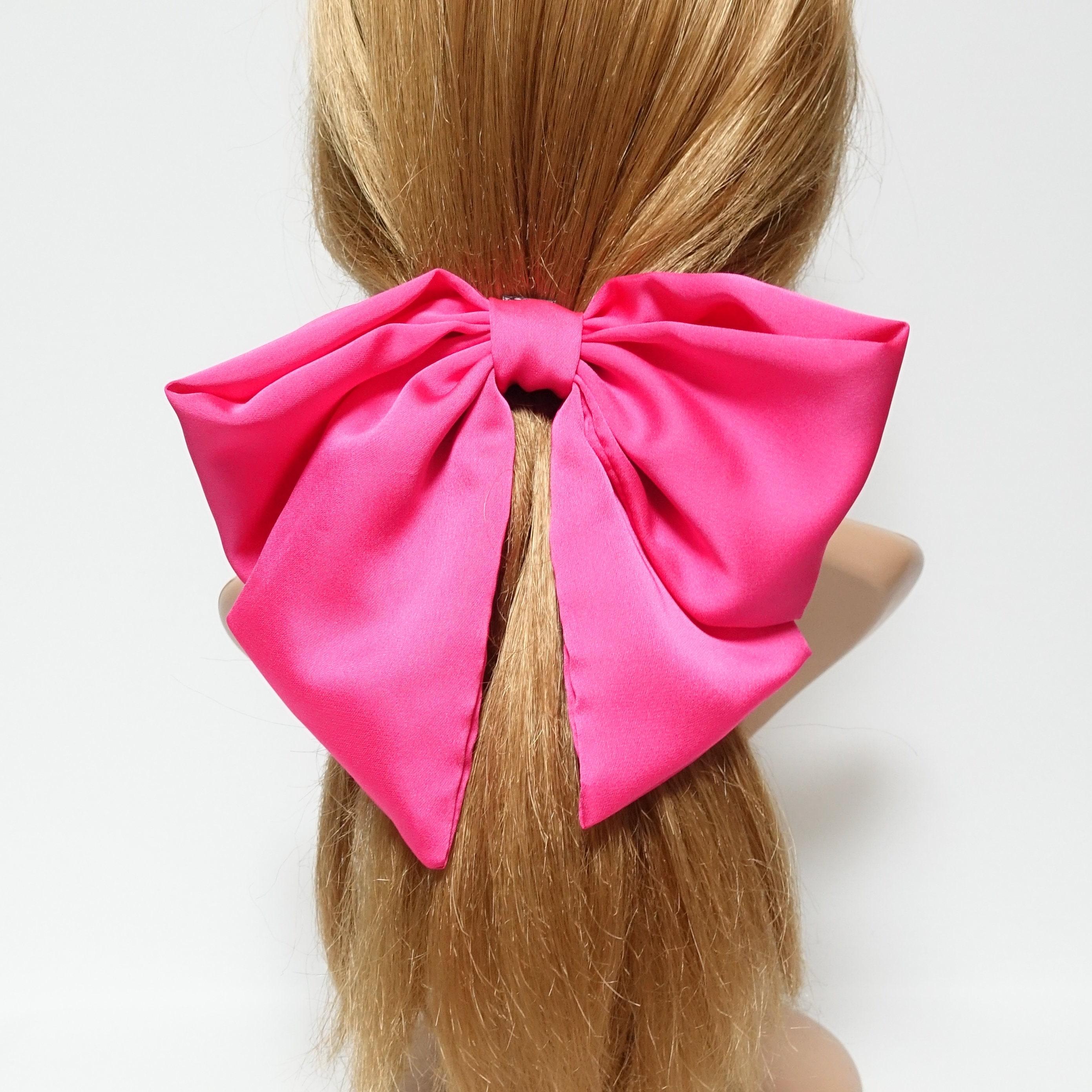 bc20bc481629 Satin big flip floppy hair bow french barrette stylish large | Etsy
