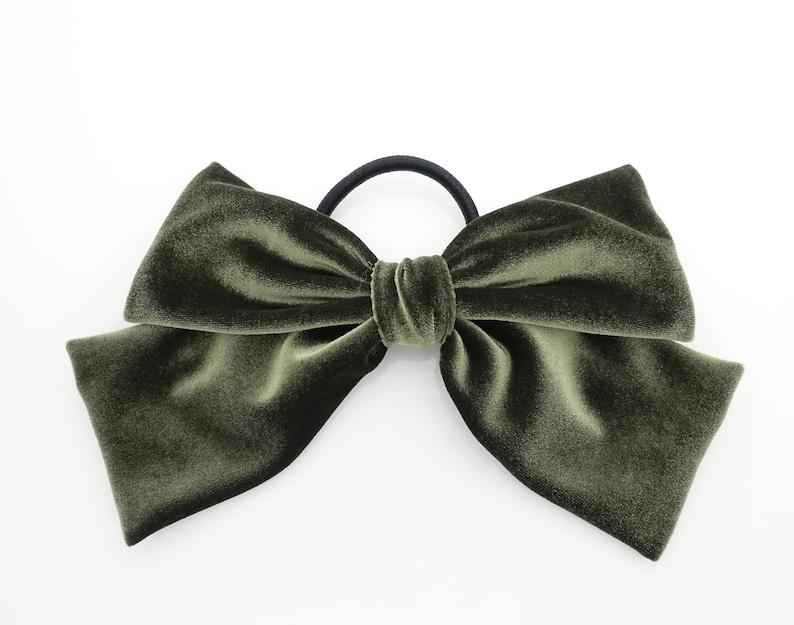513be4caa124 Velvet drape hair bow ponytail holder basic floppy style bow | Etsy
