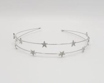 double strand star rhinestone headband thin metal headband for women
