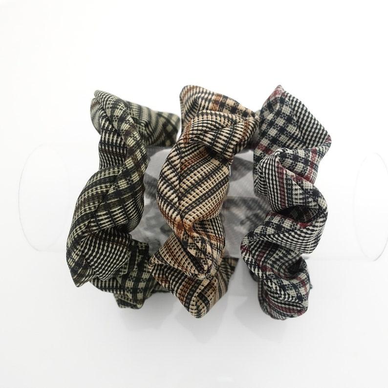 A set of 3 plaid check small hair elastics scrunchies classy  78ed559b5d9