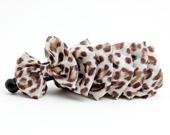 Chiffon Leopard Animal Print Bow Banana Hair Clip Women Hair Accessory