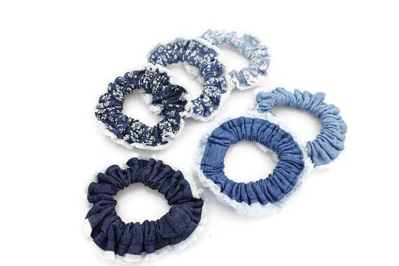A Set of 3 Scrunchies Denim Mini Hair Elastics scrunchie  d9bf1e5fec4