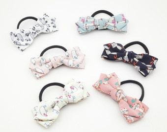 Handmade Lamb Cat Animal Print Bow Hair Elastics Ponytail Holder women hair elastics