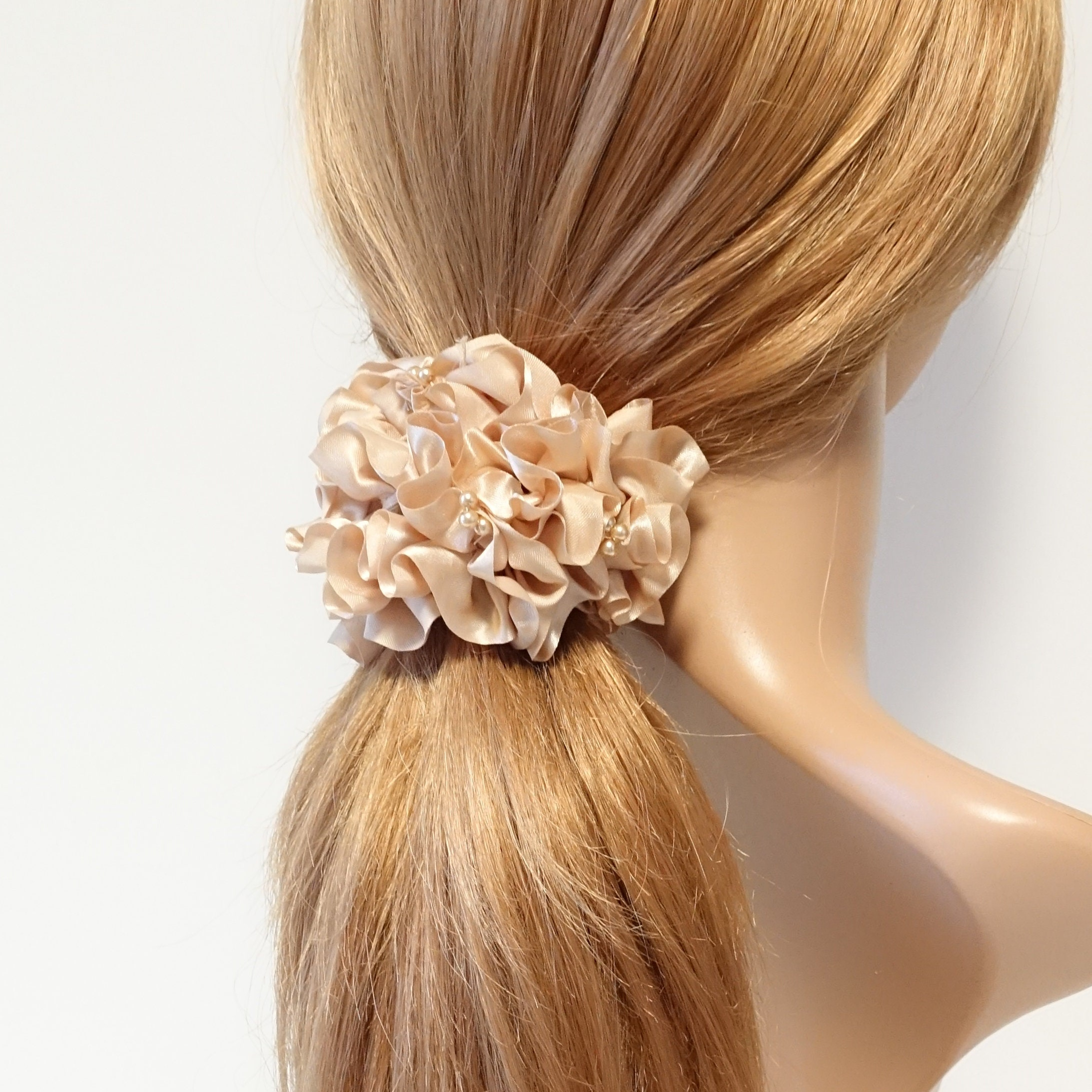 Striped Floral Pattern Elastic Scrunchies Satin Ponytail Hair Rope Hair Ties C88