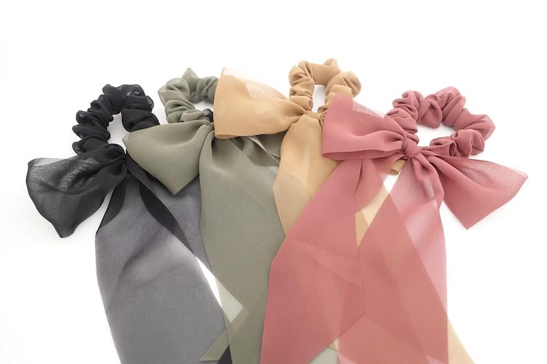 76eabfad Long tail chiffon bow knot scrunchies stylish hair tie | Etsy