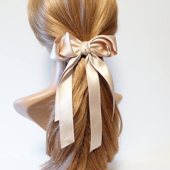 Handmade Satin Long Tail Bow French Hair Barrette Accessories by Etsy