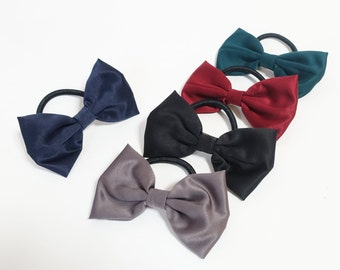 Handmade Simple Satin Bow Hair Elastics Ponytail Holder Women Hair Ties Elastics VeryShine Hair Accessory
