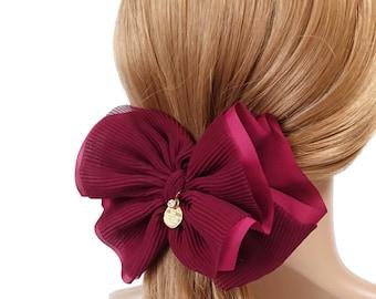 Pleat Layer Hair Bow French Hair Barrette Women Hair Accessories Big Bow hair Barrette