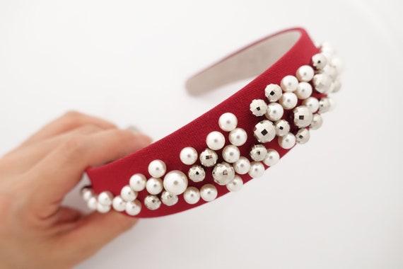 Mode Damen Perle Samt Schmale Seite Stirnband Haarbänder Haarschmuck Zubehör