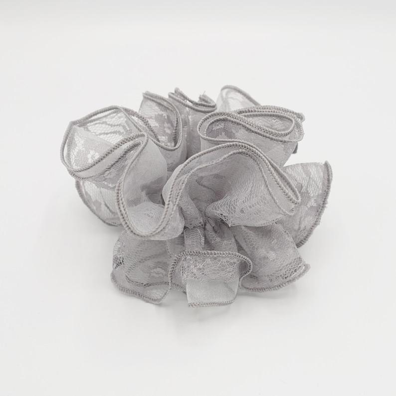 lace organza layer scrunchies double edge scrunchies hair elastic for women