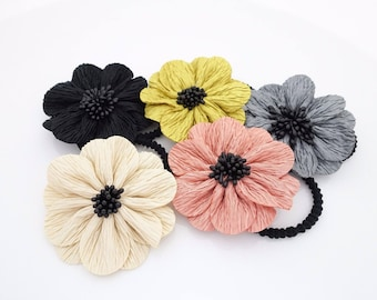 Pleat Wrinkle Petal Flower Hair Elastic Women Ponytail Holder Hair Accessory