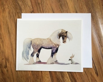 Greeting Card, Watercolor Art Blank Card,Horse Card, Happy Birthday Card, Any Occasion Blank Greeting Card