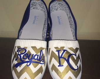 a85366d9e49de9 Gold Chevron Kansas City Royals KC womens shoes