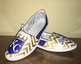 d64c761d85e455 Kansas City Royals womens shoes KC gold chevron