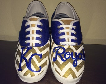 c8d7405bcfa008 Kansas City Royals womens laced shoes KC gold chevron