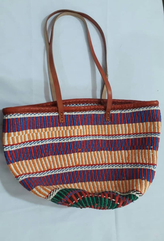 821e11d262d Basket and Bag African tote bag African Bag LeatherAfrican   Etsy