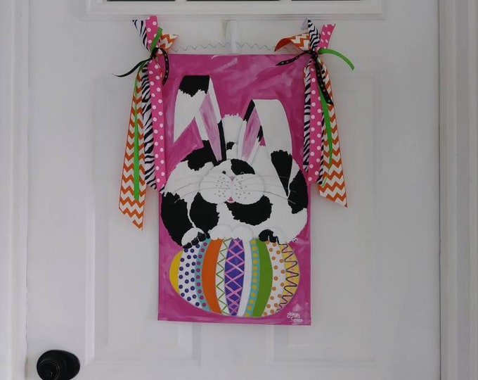 Easter Bunny Door Hanger, Garden Flag